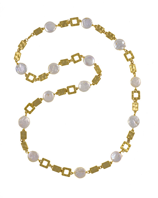 """Polignano a mare - Pearl Necklace,  Shown gold-tone,  Pearl necklace composed of white freshwater coin pearls, 14mm, interspersed with mixed metal geometric window-shaped gold-toned links, Lobster claw clasp, 30"""" in length (rope or lariat length), Can be worn wrapped into a choker style (16"""")"""
