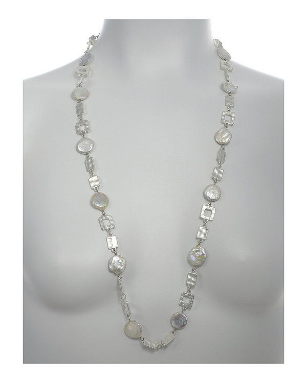 """Polignano a mare - Pearl Necklace,  Shown silver-tone on model,  Pearl necklace composed of white freshwater coin pearls, 14mm, interspersed with mixed metal geometric window-shaped silver-toned links, Lobster claw clasp, 30"""" in length (rope or lariat length), Can be worn wrapped into a choker style (16"""")"""