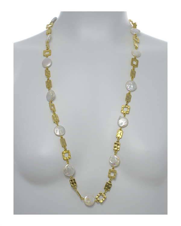 """Polignano a mare - Pearl Necklace,  Shown gold-tone on model,  Pearl necklace composed of white freshwater coin pearls, 14mm, interspersed with mixed metal geometric window-shaped gold-toned links, Lobster claw clasp, 30"""" in length (rope or lariat length), Can be worn wrapped into a choker style (16"""")"""
