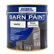 2.5lt Bedec Acrylic Exterior Barn Paint Matt White For All External Wood