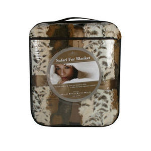 "New QUEEN Size SAFARI -""MINK"" FAUX FUR THERMAL THROW BLANKET-Light Safari colors"