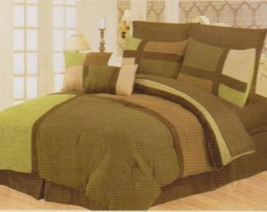 Queen Faux Suede Patchwork Bed in a Bag 10 pc. Comforter / Bedding Set - Sage
