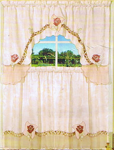 Embroidered Jaqcuard+ Voile Kitchen Curtain tier & swag 958