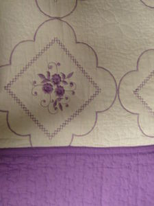 3 Pcs 100% Cotton KING QUILT / BEDSPREAD Beige & Purple