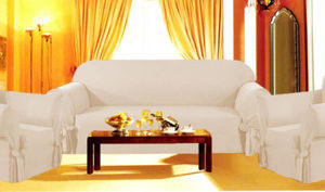 3Pc Slipcovers Set,Sofa+Loveseat+Chair Covers-OFF WHITE