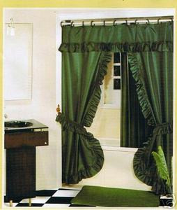 HUNTER -Double Swag Fabric Shower Curtain+Valance+Liner