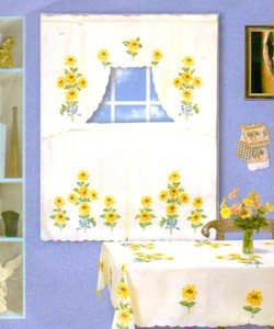 "SUNFLOWER design Beige Table Cloth 54"" x 72"" OB"