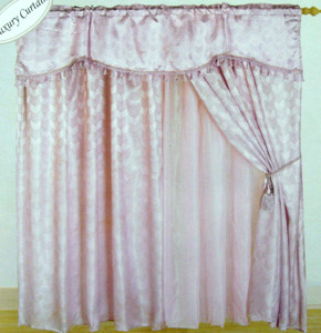 Window Curtains / Drapes attached Valance Liner Lilac