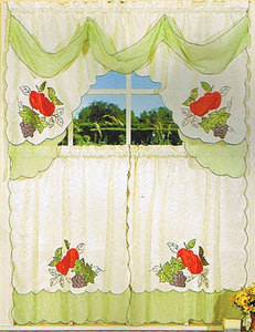 Embroidered Jaqcuard+ Voile Kitchen Curtain tier & swag