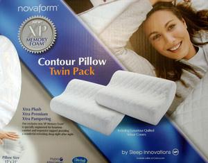 2 X Novaform Memory Foam Contour Pillow Quilt Theropuetic