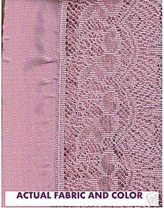 Pink Voile Kitchen Curtain +attached Silk Satin Valance