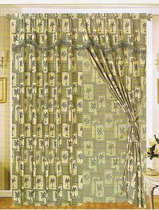 Palm Tree Curtains/Drapes with attached Valance & Liner
