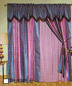 Window Curtains/Drapes +attached Valance & Liner - Purple