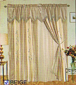 Window Curtains / Drapes with attached Valance & Liner - Beige 479