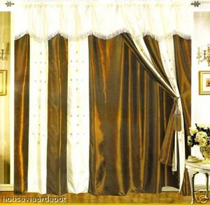 Window Curtains / Drapes with attached Valance & Liner - Brown & White