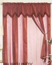 Window Curtains / Drapes with attached Valance & Liner - Burgundy 467 1139
