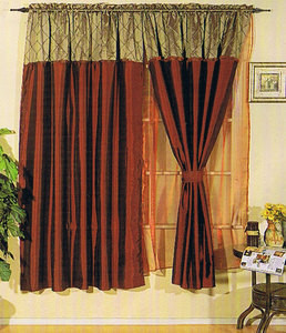 Window Curtains / Drapes with attached Valance & Liner - Burgundy 465