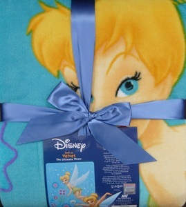 JUNIOR Tinker bell MINK PLUSH BLANKET throw bedspread