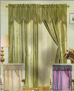 Window Curtains / Drapes with attached Valance & Liner - Green