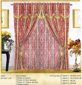 Window Curtains / Drapes with attached Valance & Liner - Burgundy