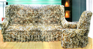 VELVET Sofa slip cover slipcover Leopard 3 pc. FIT SET