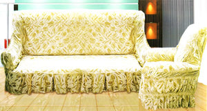 VELVET Sofa slip cover slipcover BEIGE / GOLD, 3 pc.SET