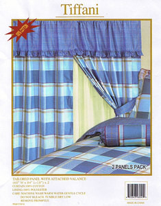 Window Curtains / Drapes with attached Valance & Liner - Blue