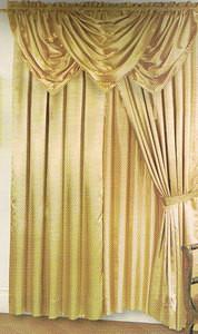 Voile Silk Satin Window Curtain With Valance & tiebacks - Gold