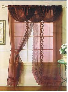 Voile Silk Satin Curtain With Attached Valance & Liner - Burgundy