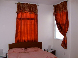 Window Curtains / Drapes Set with attached Valance + Liner - Burgundy