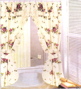 FLORAL FABRIC DOUBLE SHOWER CURTAIN SET + VINYL LINER