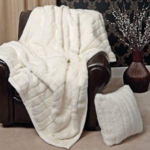 """""""MINK"""" FAUX FUR THERMAL THROW BLANKET - Light Beige / Dirty White color"""