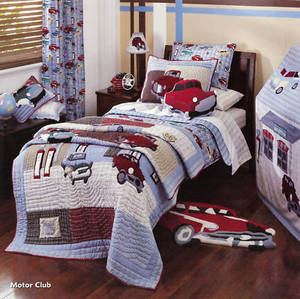 Kids Tab Top BLOCKOUT Window Curtains/Drapes-Motor Club