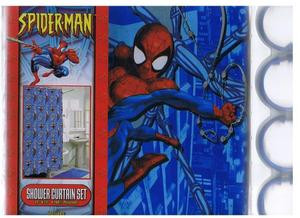 NEW MARVEL SPIDER MAN FABRIC SHOWER CURTAIN + 12 RINGS