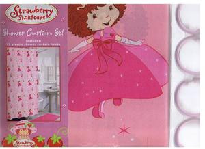 STRAWBERRY SHORTCAKE FABRIC SHOWER CURTAIN + 12 RINGS