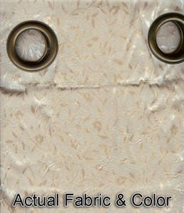 Window Rings Curtains/Drapes Set w/ TieBacks - Beige