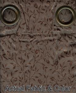 Window Rings Curtains / Drapes Set w/ Tie Backs - Brown