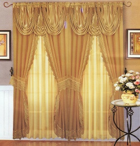 Voile Silk Satin Curtain With Valance Gold color - NEW