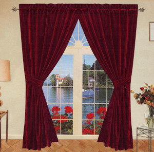 Velvet Window Curtains Drapes Burgundy Wine Color