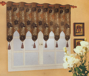 "Rings Valance for Window Curtain Drape Jacquard 98""x27"""