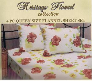 QUEEN 2009 New Collection FLANNEL 4 pc Cotton SHEET SET 169