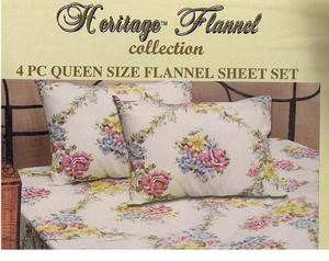 QUEEN 2009 New Collection FLANNEL 4 pc Cotton SHEET SET 167