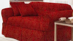 Sofa Loveseat Chair Slipcover slip cover Set - Burgundy