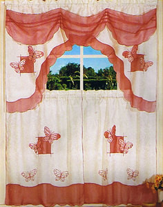 Embroidered Jaqcuard Voile Kitchen Curtain Tier & Swag 118