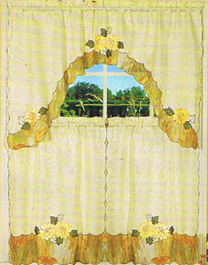 Embroidered Jaqcuard Voile Kitchen Curtain Tier & Swag 117