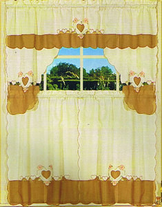Embroidered Jaqcuard Voile Kitchen Curtain Tier & Swag