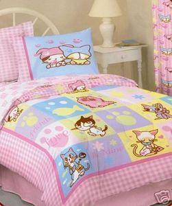 Brand New!!! - Twin Barcode Kitties Pink Comforter Set