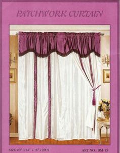 Window Taffeta Curtains/Drapes Set+Valance+Liner-Purple