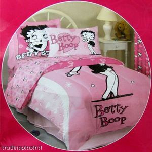 BRAND NEW Queen Betty Boop Comforter / Duvet 4pc - Pink