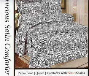 """QUEEN Bed in a Bag 3pc. Comforter Bedding Set - """"Zebra"""""""
